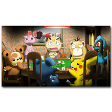 Pikachu Playing Poker - Pokemon Funny Art Silk Poster Print 13x24 24x43inch Pocket Monster Anime Picture for Room Wall Decor(China)