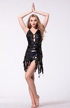Sparkling Women Latin Dance Performance Dress Paillette Dress Female Latin Dress Sexy Sequins Dance Costumes Samba Fitness #017(China)