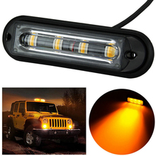 4LED Light Bar Beacon Vehicle Grill Strobe Emergency Warning Flash Amber Lightbar Beacons Lamp Waterproof Light For Jeep SUV 4X4