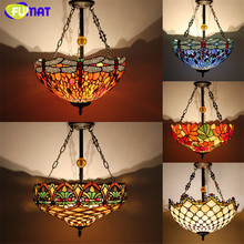 Antique Country Style Tiffany Lamp Stained Glass Suspension Lights Dragonfly Flower Restaurant Kitchen Lamp Hotel Project Lamp(China)