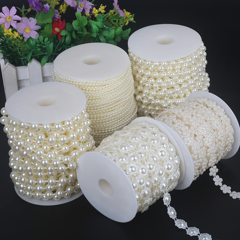 5m 3mm 4mm 5mm 6mm Cotton Line Artificial Pearl Beads Chain Wedding Party