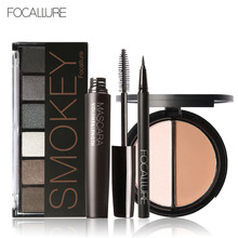 FOCALLURE 6 Warm Nude Eyeshadow Palette Black Volume Mascara Eyeliner Pen Double Colors Bronzer Highlighter Powder Makeup Kit
