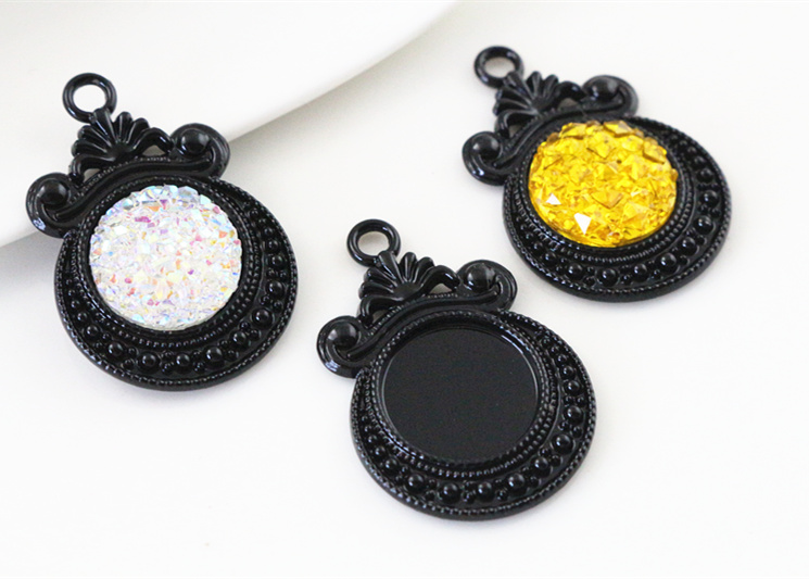 16pcs 12mm Inner Size Black Plated Fashion Flower Style Cabochon Base Cameo Setting Charms Pendant (A7-40)