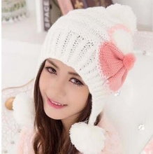 #3230 2017 New Warm Beanie Women's Cotton wool knitted Cap with pompon and ultra big bowknot in Winter Autumn(China)