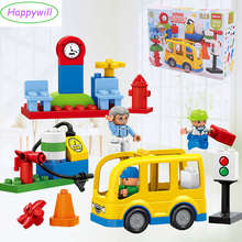 Happywill HM070 29PCS Models & Building Toy Bus Stop Set Large Particle Building Blocks Figures For Kids(China)