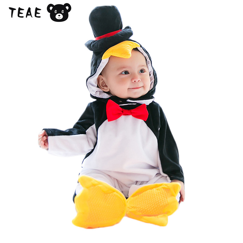 Infantil Boys Girls Winter Rompers Cartoon Animal Penguin Warm Coral-velvet Clothes Set 3pcs Removable for newborn Baby Costume<br>