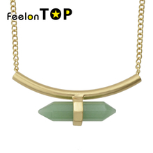 New Inspiration Design Tube Type Falling Green Aventurine Powder Short Necklace For Women Maxyum Wholesale