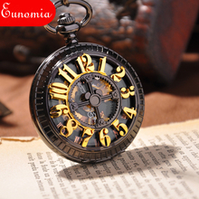 Black Men Cool Luxury Gift Mechanical Hand Winding Pocket Watch Antique Arabic Numbers Engraved Chain Pendant Watch Women