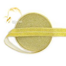 "GOYIBA 5 Yard 5/8"" 1.5cm Glitter Gold Metallic FOE Foldover Elastic Spandex Satin Kids Hairband Headband Lace Trim Sewing Notion"