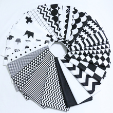 160*50cm Classic Black&White Style Twill Cotton Fabric Telas DIY Patchwork Sewing Toy Material Quilting Bedding Tecido Tissue(China)