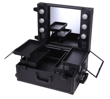Lighted Cosmetic Box  Make Up Travel Case Mirror Vanity Bag with Trolley Professional