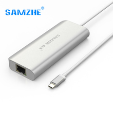 SAMZHE Type C USB3.0 USB2.0 Ethernet Adapter Internet Cable HUB Converter 4 ports USB Converter Net port Adapter for Macbook PC
