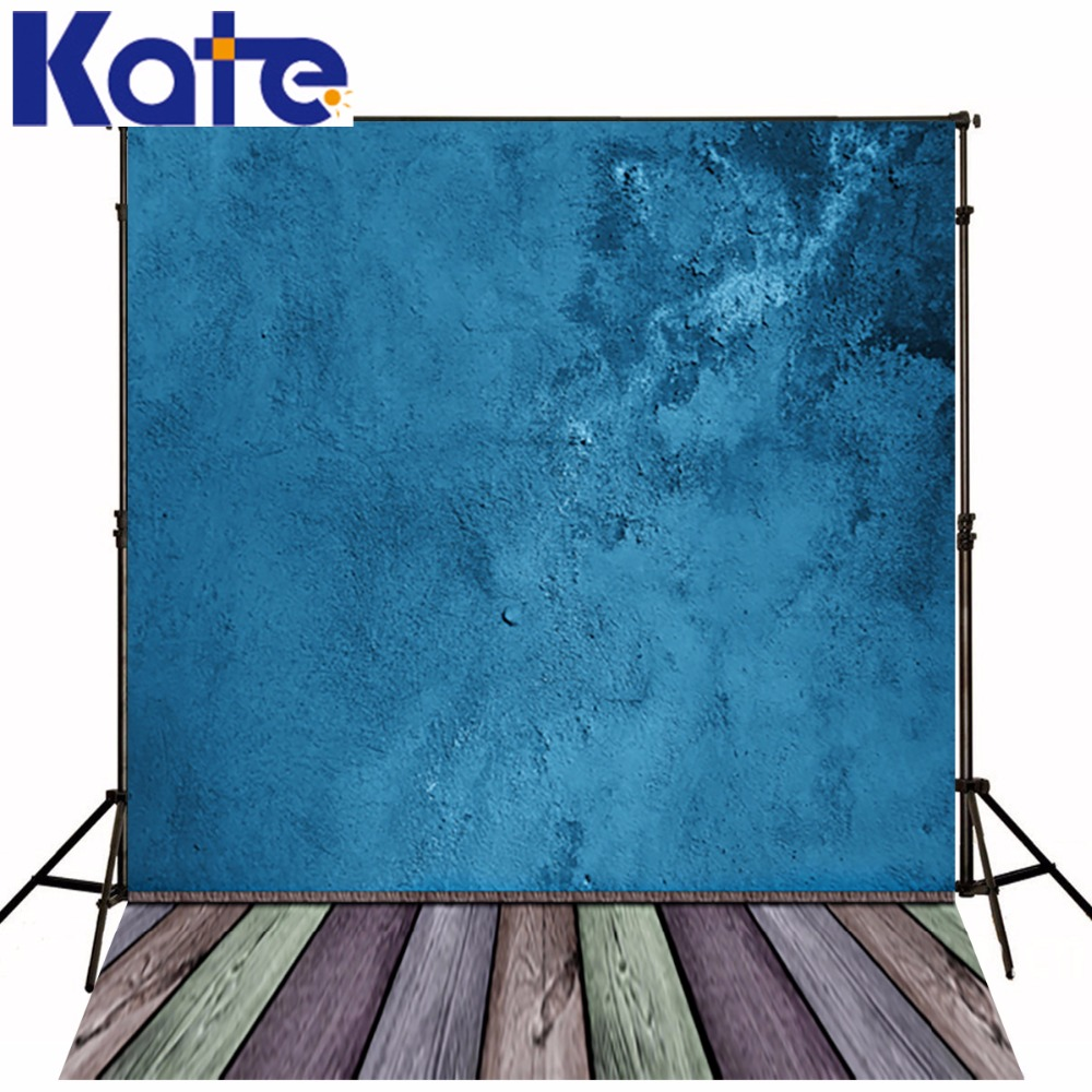 150*200Cm(5Ft*6.5Ft) Photography Backdrops Studio Photo Wooden Wall Blue Watercolor Nostalgia<br>