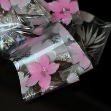 Fashion design nail transfer foil transfer film nail stickers  Pink Large Lily Flower GL117