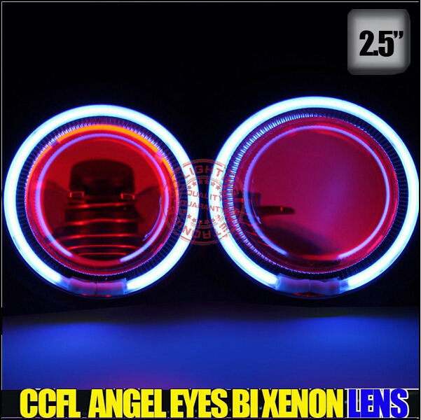 2.5  waterproof Bi-Xenon projector lens kit with demon eyes , CCFL angel eyes for carH1,H4,H7,(HB3),(HB4),9007 lamp ,hid lights<br><br>Aliexpress