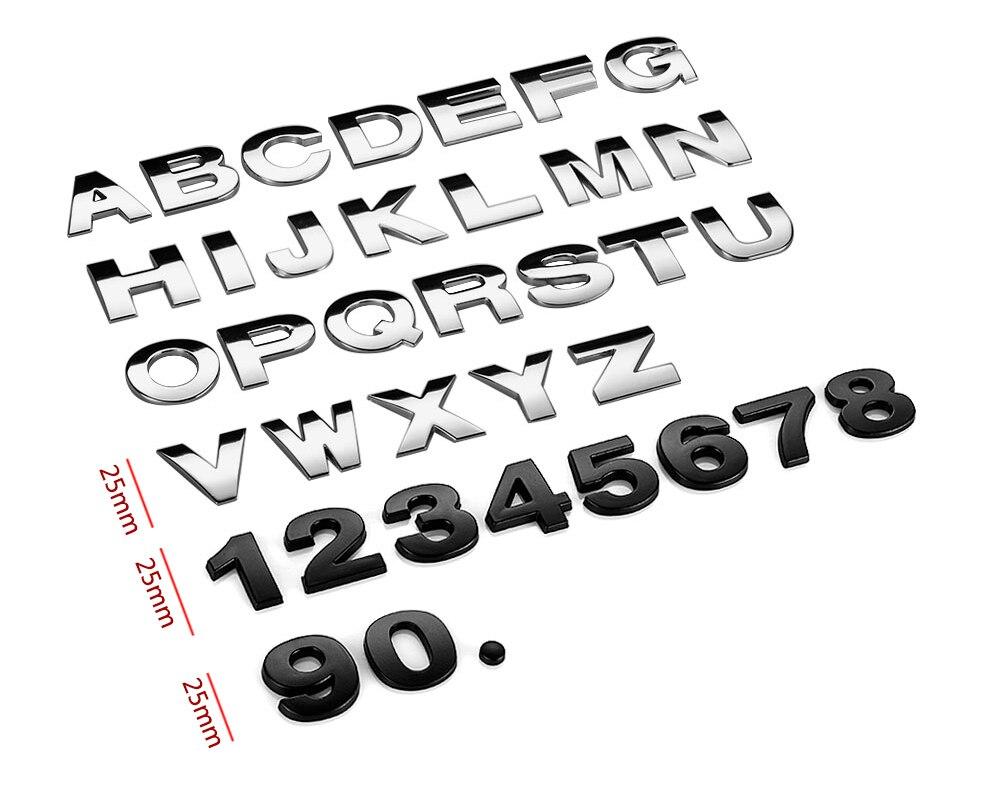 HTB1yQa1X1SSBuNjy0Flq6zBpVXaf - 25mm Car Auto Chrome Metal DIY 3D ARC Letters Digital Alphabet Emblem