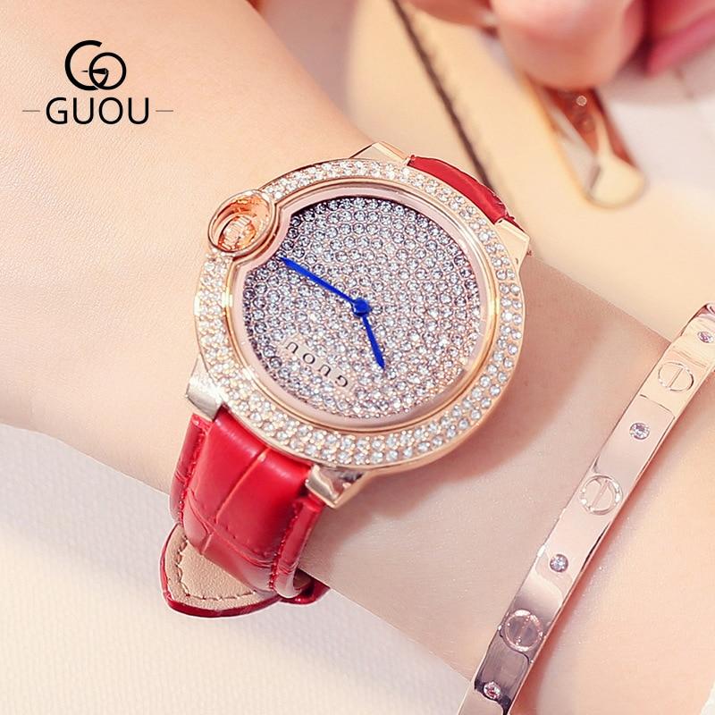 GUOU Luxury Full Crystal Women Watches Ladies Fashion Genuine Leather Hardlex Dress OL Shockproof Wristwatch Female Clock GU003<br>