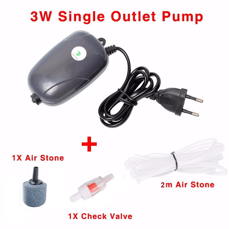Aquarium Air Pump Fish Tank Mini Compressor Single Double Outlet Oxygen Pumps With Accessories Stone Check Valve Tube 220V 3W 5W3