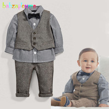 Buy babzapleume 3PCS/spring autumn newborn baby boys clothes shirt+pants+vest 1st birthday gentleman suit infant clothing set BC1510 for $15.90 in AliExpress store