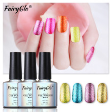 FairyGlo 10ml Glitter Bling UV Gel Polish Soak Off Nail Gel Polish Hybrid Varnish Lucky Gel ink GelLak Semi Permanent Lacquer(China)