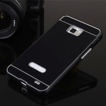 For Samsung Galaxy S2 SII i9100 9100 Luxury 2in1 Metal+Acrylic Back Hybird Cases Ultra Thin Aluminum Case