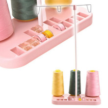 Pink ABS Plastic Metal Strip Adjustable 3 Embroidery Thread Spool Holder Stand Sew Quilting For Home Sewing Machine(China)