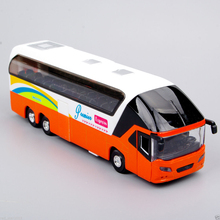 1/32 Diecast Car New York Double Decker Sightseeing Tour Bus Pull Back Model with Light and Sound