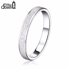 Effie Queen Frosting Thin Rings 2017 Spring Style Simple Design for Male Female Couple Ring Wedding Engagement DR16(China)