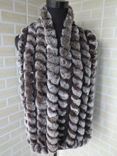 Genuine  rex rabbit fur  scarf wrap cape  collar  long size brown with white tips shipping free