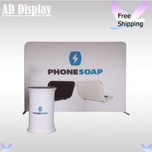 Exhibition Pop Up Booth 10ft Premium Straight Stretch Banner Display Stand With Single Side Graphic+Portable Fabric Oval Table
