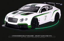 1 PC 15cm Bentley GT3 alloy car model toy racing car Acousto-optic back children gifts