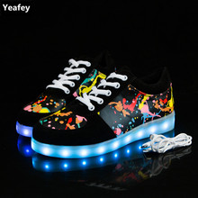Yeafey Luminous Sneakers Krasovki Children Led Luminous Girls Shoes for Kids Glowing USB Light Up Womens Mens Fashion Sneakers(China)