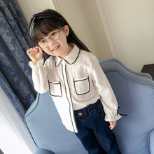 turn down collar litter girls blouses and tops 2017 autumn girl school white shirts long sleeve children clothing kids clothes
