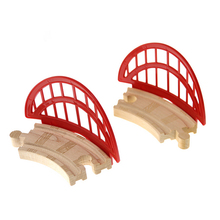 p096 To prevent derailment Red Net Barrier Small Curved Rail Compatible Thomas Wooden Small Train Track Child train Game Scene(China)