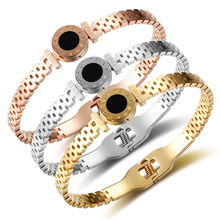 Women Wedding Bracelet Roman Numeral Brand Bracelets Bangles Gold Rose Gold Bangle Engraved Shell Jewelry For Gift