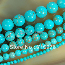 wholesale Natural Stone Beads Blue Turquesa Round Beads For Jewelry Making 15.5 inches Pick Size 4 6 8 10 12 14mm (F00041)