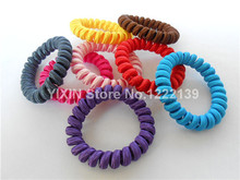 100pcs Telephone Wire Hair Band Wrapped Cloth Fabric Ponytail Holder Elastic Wristband Headband Hair Accessories(China)