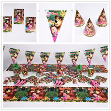 91pcs Masha and bear Disposable Tableware sets TableCloth cups Paper plate Napkin Flag Kids Boy Birthday Party Decoration