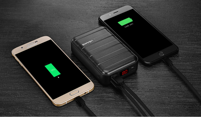 Power Bank 000mAh USAMS LCD Portable PowerBank External Battery Dual USB Charger For Xiaomi iPhone 7 6 6S 5 Mobile Phones Tab 25