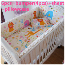 Promotion! 6PCS Bedding Set,Crib Sets for Babies,Lovely Design Baby Cot Set (bumper+sheet+pillow cover)(China)