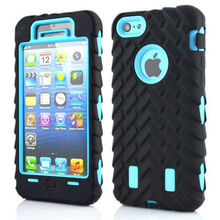 For iPhone 5C 5 5S SE 6 6S 7 Plus X 4 4S New Tyre Tire Tread Robot Hybrid Anti Shock Armor Rubber Silicone Back Case Skin Cover(China)