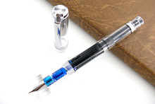 Wingsung 698 Fountain Pen 698 Transparent Piston Converter Fountain Pen(China)