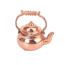 1/12 Dollhouse Miniature Copper Tea Kettle/Tea Pot Classic Toys Pretend Play Furniture Toys for Miniature Kitchen Accessory(China)
