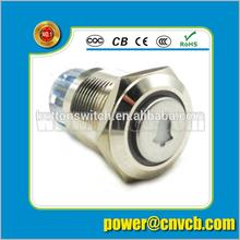 16163 16mm high round head ring lamp bell logo illuminated IP67 stainless steel momentary led push button switch