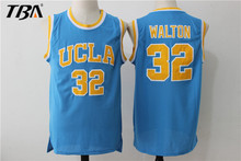 2017 New Cheap 32 Bill Walton UCLA Bruins College Basketball Jersey Embroidery Logos Blue Stitched Jerseys(China)