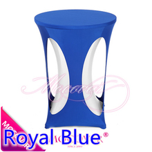 Royal Blue spandex high bar table design cover lycra table top cover for wedding banquet and party cocktail table decoration