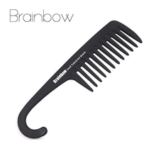 Brainbow Hair Comb with Hanger Quality ABS Plastic Anti-Static Large Wide Tooth Comb Detangling Wide Teeth Hairdressing Brushes(China)