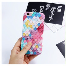 New Square Frosted Exquisite Touch Hard Plastic Cases Cover For iPhone 6 6S Plus 7 7Plus Mermaid Fish Scal Coque Slim Matte Capa(China)