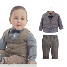 clothing set boys fall fashion baby designers clothes autumn boys bow tie shirt + pants +vest 4 pieces sets gentleman(China)