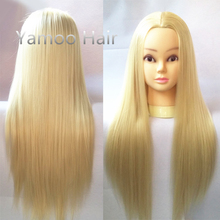 Professional 68cm Blonde Fiber Beautiful Hair Female Mannequin Hairdressing Styling Training Head high quality Mannequin Head(China)
